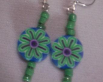 Green Flower Clay Earrings