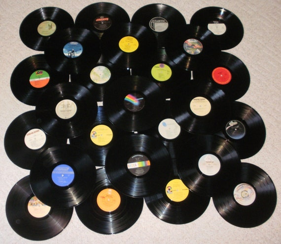 Lot of 25 Vinyl Record Albums for Decorating or Craft Projects - 33 1/3 rpm -  1970's Rock n Roll  or Custom Orders Taken - 70C