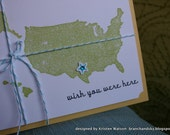 Wish You Were Here - handstamped card