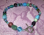 Ocean Waves beaded anklet -- free shipping in USA