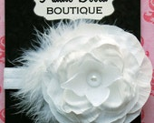 White Flower Headband with feathers and pearl center Wedding Baptism Flower girl Fits Newborn Toddler or Adult