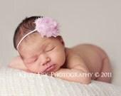 Baby Girl Headbands - Baby Flower Headband - Pink Shabby Frayed Flower Headband