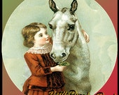 1 1/2 Fabric Button - Cute Victorian Girl with her Beautiful HORSE Winter Holiday Christmas