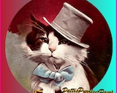 1 1/2 Fabric Cat Button - 2013 Formal Wedding Fashion Paris France Top HAT Fashion oxblood Carnival Modern