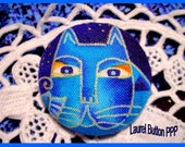 1 1/2 Laurel Burch Fabric Button - Fantastic Felines Indigo Blue