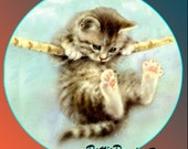 1 1/2 Fabric Cat Button - Hang in There Ready to Ship