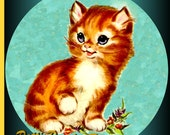1 1/2 Fabric Cat Button - ALEXANDER the TEAL eyed Kitten Sweet BABY KittyCat Ready to Ship