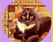 1 1/2 Fabric Cat Button - TUXEDO CAT with Little Peeking Kitten Sew Purple Lavender Violet