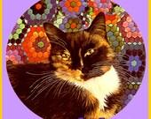 1 1/2 Fabric Cat Button - TORTOISE Shell FALL Color Autumn purple lavender violet