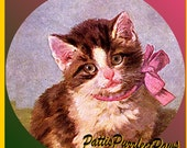 1 1/2 Fabric Cat Button - Pretty in Pink FUR Valentine