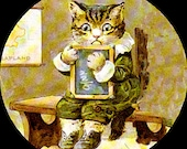 1 1/2 Fabric Cat Button - BACK TO SCHOOL is Cool
