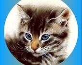 1 1/2 Fabric Cat Button - Frankie - Back to School Im Blue Eyes