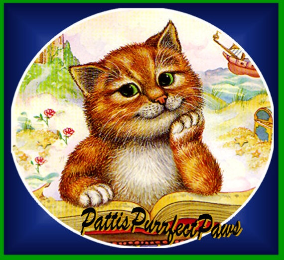 1 1/2 Fabric Cat Button - STORYBOOK KITTEN Ready to Ship