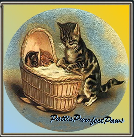 1 1/2 Fabric Kitty Cat Button - Sweet Dreams to our Precious Grand Babies - The CATS CRADLE Ready to Ship
