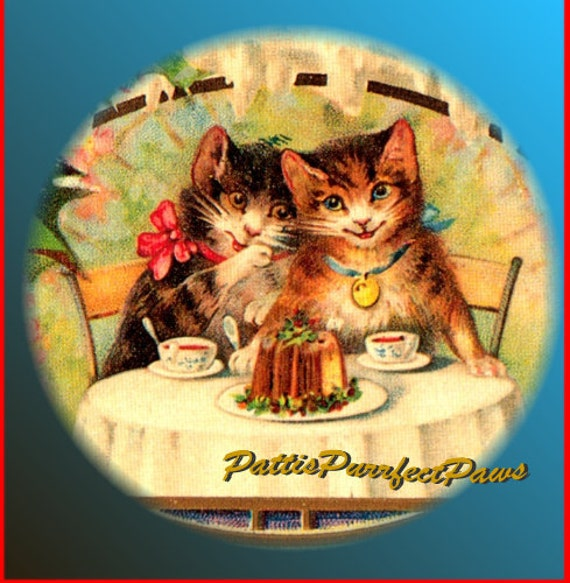 1 1/2 Fabric Cat Button - KITTY CATS Let them Eat Cake - Victorian Kittens Tea Time