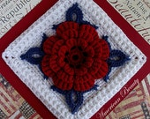 American Beauty Crochet Bullion Afghan Block Pattern PDF - With Permission to sell finished item