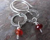 Carnelian Drop Earrings - handmade silver earrings with carnelian - hammered silver