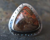 Teepee Canyon Agate Ring in Sterling Silver - Size 7 - OOAK - One Of A Kind Ring