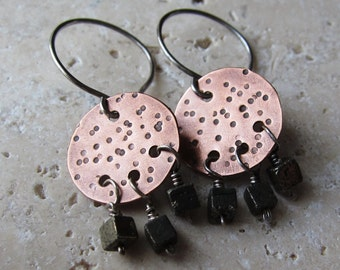 Copper Lunar Earrings - hammered texture w/ pyrite