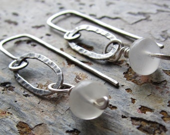 Moonlit Swing Earrings - sterling silver & moonstone w/ hammered texture