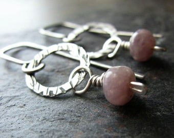 Lavender Dream Earrings - handmade silver earrings with lepidolite - hammered silver