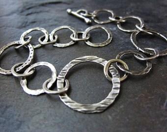 Elemental Bracelet - hammered silver link bracelet - adjustable silver bracelet