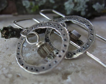 Smoky Silver Circle Earrings - sterling silver & smoky quartz w/ hammered texture