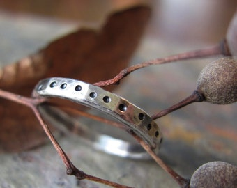 "Silver Stacking Ring -""Wandering Dots"" hammered texture - fine silver band"