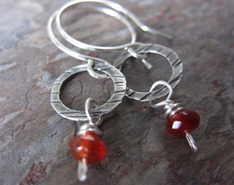 Carnelian Drop Earrings - handmade silver earrings with carnelian - hammered silver