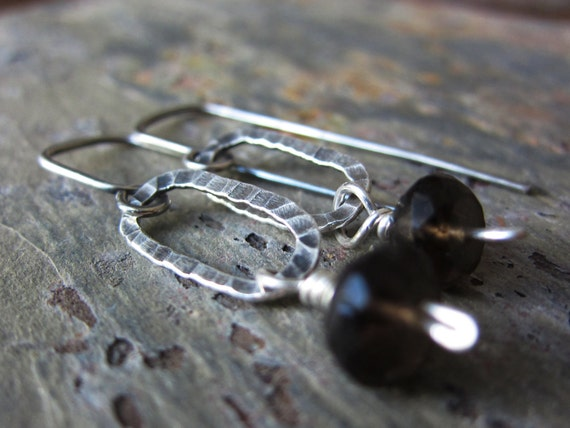 Smoky Quartz Swing Earrings - smoky quartz & sterling silver earrings w/ hammered texture