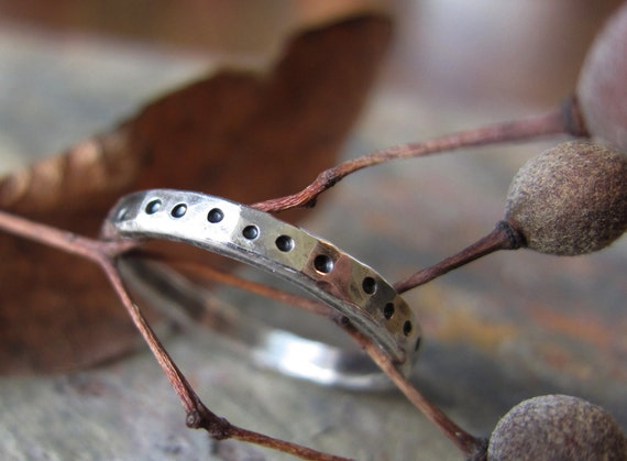 """Silver Stacking Ring -""""Wandering Dots"""" hammered texture - fine silver band"""