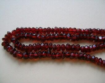 Burgundy / Scarlet Red / Cranberry Garnet Rondelles, 3.5 - 4mm, faceted