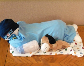 Baby Boy Diaper Sleeping Baby  - an adorable baby shower gift - Made to order