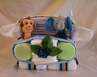 Baby Boy Diaper Car  - an adorable baby shower gift, made to order