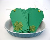 St. Patrick's Day Gift Tag Set, Kelly Green Shamrocks, Glitter Green Clovers, 6 Tags