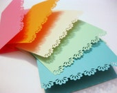 Rainbow Paper Lace Cards, Set of 10, Handmade Note Cards, Punched Edge, Scalloped, Greeting Cards