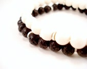 Beaded Stackable Bracelets, Black or White Fine Silver Beaded Bracelets, White Coral Black Lava Rock, White Black Silver Stretch Bracelets