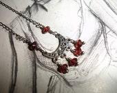Garnet Filigree Crescent Sterling silver Necklace