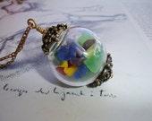 Whimsical Sea Glass Hand Blown Glass Globe Pendant, Vintage Brass Chain