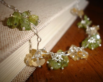 Peridot and Citrine Cluster Necklace on a Sterling Silver Chain