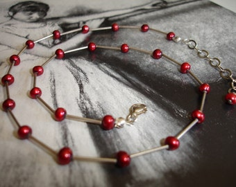 Garnet Red Freshwater Pearl and Sterling Silver Necklace, Modern