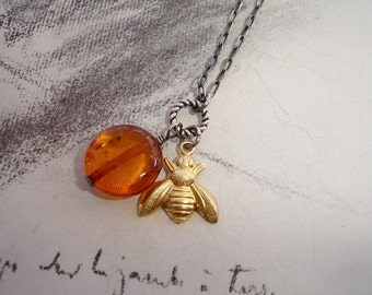 Sweet Like Honey - Brass Bee and Amber Sterling Silver Charm Necklace, Whimsical