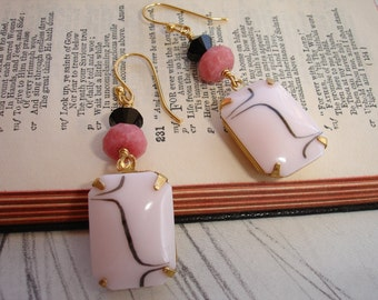 Vintage Pink and Black Glass Rhinestones with Rhodonite and Swarovski, Gold Dangle Earrings, Art Deco, Romantic