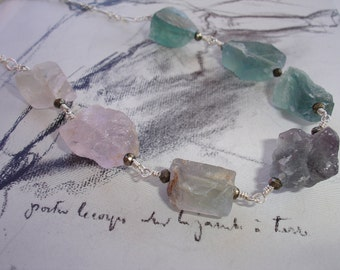 Raw Hammered Fluorite with Pyrite, Sterling Silver Necklace, Organic, Modern, Gorgeous Colors, Summer Necklace