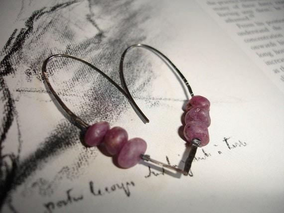 Ruby Earrings  Organic Unpolished Ruby Sterling Silver Earrings    Unpolished Ruby