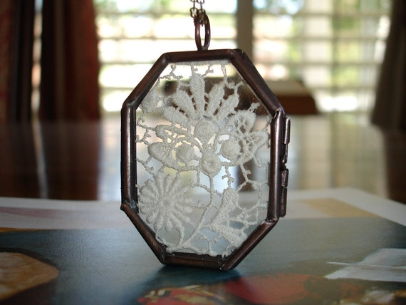 Vintage Venice Lace Display in an Antique Copper Locket Hinged Frame Pendant, Octagon Shape, Romantic, Victorian style