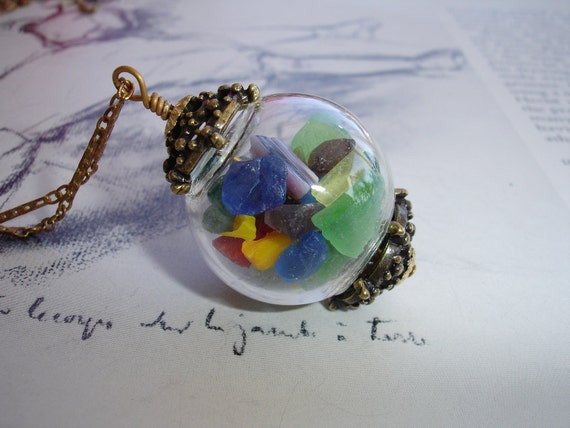 Whimsical Sea Glass Hand Blown Glass Globe Pendant, Vintage Brass Chain