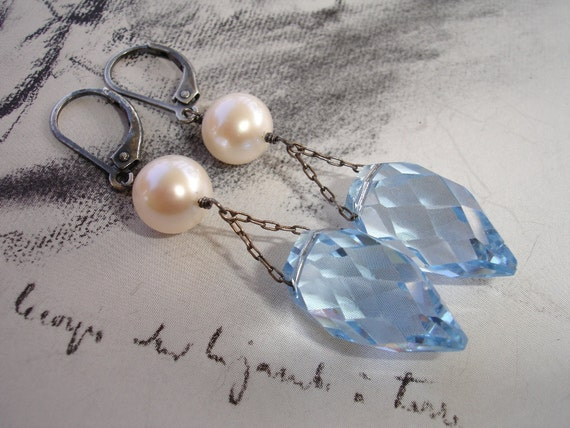 Art Deco Vintage Sky Blue Crystal and Freshwater Pearl Dangle Sterling Silver Earrings, Bridal, Wedding, Something Blue