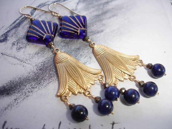 Last One- NEFERTITI - Chandelier Earrings Vintage Art Deco Glass, Brass Lotus Charm, Lapis Lazuli, Pyrite,  Art Deco, Egyptian Revival