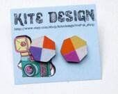 Illustrate Post Stud Earrings in Orange and Purple Pop